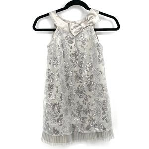 Biscotti silver sequin bow formal holiday dress 8